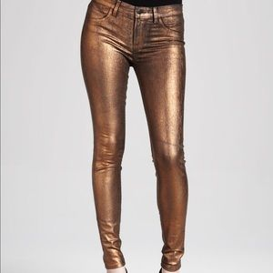 7 For All Mankind Jeans Skinny Gold Metallic 28